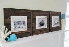 Set of 3 Xtra Large Dark Stained Plank Frames by Project Cottage... For the beach house!!!