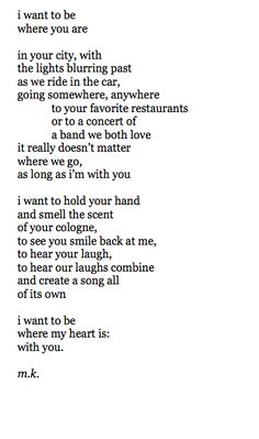 i want to be where my heart is: with you