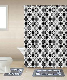 Mitosis Black & White 15-Piece Bathroom Accessory Set 2 Bath Mats Shower Curtain   Home & Garden, Bath, Bath Accessory Sets   eBay!