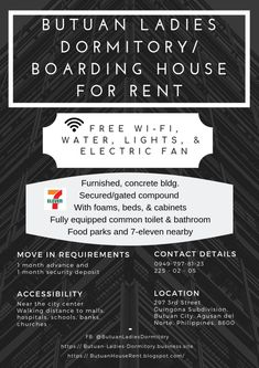Boarding House in Butuan City Double Deck Bed, Food Park, Boarding House, Dormitory, Rental Property, Renting A House, 7 Eleven, Electric Fan, Lights