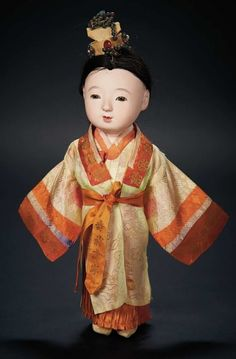 Love, Shirley Temple, Collector's Book: Lot # 317.1 Japanese Paper Mache Doll with Unique Headdress