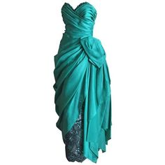 Preowned Paul-louis Orrier Paris Embellished Emerald Green Evening... ($900) ❤ liked on Polyvore featuring dresses, gowns, green, blue ball gown, green evening dress, emerald green evening gown, blue green dress and emerald green gown