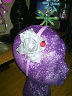 Music sheet flower headband made by NiEs N Easy Designs
