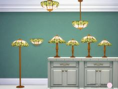 Tiffanys Lamp Set, Classic and Traditional Tiffany Lamps, 8 Colored Shades with Gold Base. 8 Sims4 Light Meshes by DOT of The Sims Resource. http://thesimsresource.com/downloads/details/category/sims4-sets-objects-kitchen/title/tiffanys-lamp-set/id/1299047/