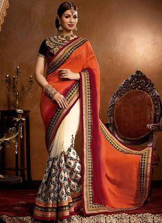 a46bed03aa0 Ayesha takia georgette orange   cream bollywood designer saree Bollywood  Designer Sarees