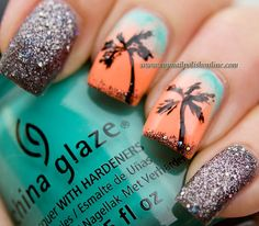 Nail art with palms. I need to do this for when I go to the Dominican Republic! Love Nails, My Nails, Vegas Nails, Pretty Nails, Fancy Nails, Palm Tree Nails, Cute Nail Art, Dominican Republic, Blue Orange