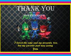 Instant Download  PJ Masks thank you tags    PJ by nsprintdesign