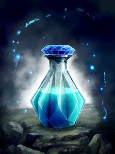 intellect Crystal Potion by ArtLanding.deviantart.com on @DeviantArt | Mana potion | magic bottle, illustration | fantasy items art | magical | glowing blue MP gaming