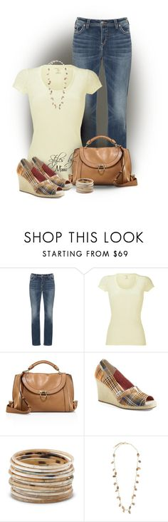 """""""Toms & A Tee (4.26.17)"""" by stylesbymimi ❤ liked on Polyvore featuring Silver Jeans Co., Majestic, Salvatore Ferragamo, TOMS and Rosantica"""