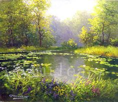 pictures of oil painted rivers   ... oil painting on ,impressionism landscape oil painting, garden oil