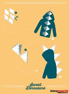 #Astuce : réaliser un sweat de dinosaure. Pour réaliser ce petit déguisement de dinosaure, il vous faut :1) Faire des losanges avec vos morceaux de feutrine. 2) Coudre les pièces sur la ligne centrale à l'arrière du vêtement. 3) Faire de même sur la capuche. 4) Coudre le long des bords des triangles de feutrine pour fixer les deux parties du losange ensemble et ainsi former des triangles !