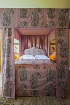 "Soane Fall 2016 - bed with Paisley Parrot fabric:  exquisite new Paisley Parrot fabric, shown here on a drool-worthy custom bed treatment. The bold scale of the print, combined with its intricate ""parrot within a parrot"" design, is a testament to owner Lulu Lytle's knowledge, imagination and creativity."