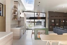Image 22 of 40 from gallery of Layer House / Robson Rak Architects and Interior Designers. Photograph by Shannon McGrath Recycled Concrete, Art Nouveau, Aluminium Doors, Home Decor Kitchen, Kitchen Wood, Crisp Kitchen, Kitchen Ideas, Modern Coastal, Coastal Homes