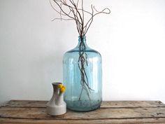 Vintage Glass Water Jug - 5  Five Gallon Bottle, Large Floor Vase, Vintage Industrial Decor, Minimalist, Carboy
