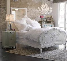romantic shabby chic bedroom.