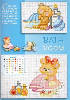 babies teddy bears bathroom - free cross stitch patterns crochet knitting amigurumi