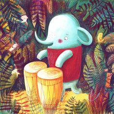 The elephant's music story by Monika Filipina Trzpil, via Behance