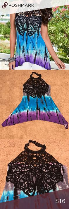 Venus Lace Front Tie Dye Top Gorgeous lace front halter top by Venus. I've worn this top a couple of times, so the interior tag's been removed. It's machine washable. Stunning tie dye colors with a beautiful lace front that buttons in the back of the neck. Venus Tops Tank Tops