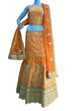 Buy Now Orange Zari with Diamond Work Raw Silk Bridal Lehenga Choli only at Lalgulal.com. Price :- 12,984/- inr. To Order :- http://goo.gl/R3gWfu COD & Free Shipping Available only in India.