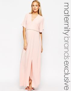 Image 1 ofClub L Maternity Kimono Sleeved Maxi Dress With Plunge Front