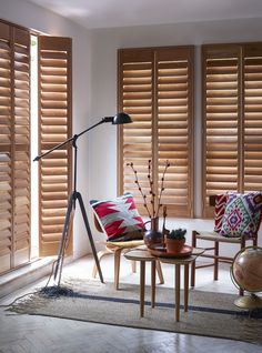 Great for a Scandi-chic minimal, modern space, pale wood shutters add subtle warmth to a design scheme. http://www.theshutterstore.com