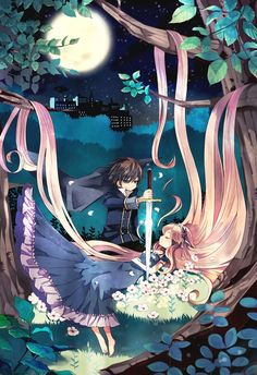 Anime princess long hair dress woods