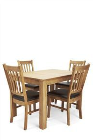 Buy Madison Oak Stain Dining Table and 4 Chocolate Chairs