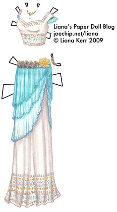 Mermaid Monday #11: White Mermaid Ball Gown with Embroidered Choli Top and Aquamarine Overskirt | Liana's Paper Dolls