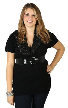 Plus Size Short Sleeve Sequin Cowl Neck Tunic with Belt @ Deb. I want this.