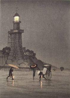 Kobayashi Kiyochika, Rainy Night at Kudan Hill, early century. Japanese Illustration, Illustration Art, Japanese Woodcut, Art Asiatique, Parasols, Art Japonais, Japanese Painting, Art Graphique, Japanese Prints