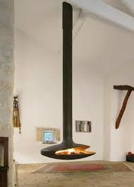 Image result for log stove hanging from ceiling
