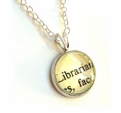 Librarian Sterling Silver Mini Pendant Vintage by writtennerd, $29.00