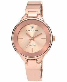 Anne Klein Watch, Women's Diamond Accent Rose Gold