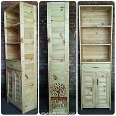 This is a very smart wooden pallet cabinet. Its design is pretty slim, it is tall stature wise, it has got various drawers and multiple storage portions on the front of wooden cabinet. Use it for placing your clothes, shoes, or whatever you want to place inside.