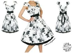 Vintage Style Black White Floral Swing Dress