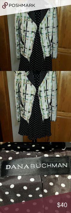 Dana Buchman Blazer w/Jones of NY Skirtl Selling as a set: Dana Buckman blazer with Jones of New York polka-dot skirt. Lovely, classy combination. ?? Blazer has polka dot lining.  Faux pockets are embellished with polka-dots on the top.  Fringe surrounds jacket. Skirt is mid length!! Dana Buchman Jackets & Coats Blazers