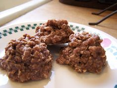 No Bake Chocolate oatmeal cookies. PEANUT FREE. I made these with 3/4-1 cup of honey and left out the milk to make them sugar free as well. Everyone really loved.