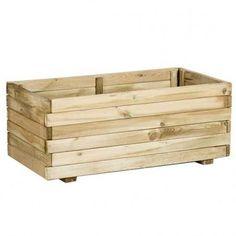 Jardinera de madera rectangular de 80 x 40 cm