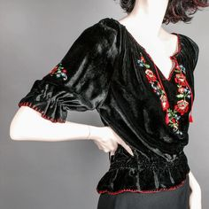 Silk Satin Velvet Embroidered Peasant Blouse *ca 1930's