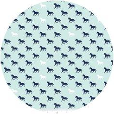 Riley Blake, Derby Style, Horses Aqua