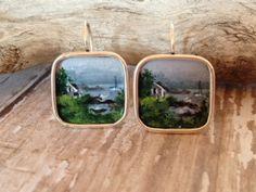 Miniature Painting Earrings HandPainted by BellaMiniBijoux on Etsy, $85.00