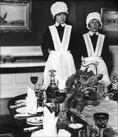 U.K. Parlourmaid and under-parlourmaid ready to serve dinner (1939) // Bill Brandt