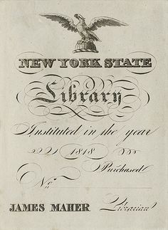 [Bookplate of the New York State Library] by Pratt Libraries, via Flickr