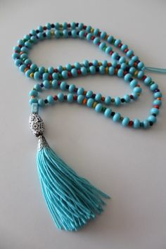 Blue Tassel Yoga Necklace Mala Yoga Tassel Necklace by TTassel