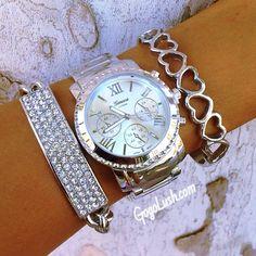 Silver Hearts Bracelet. Jeweled Bracelet & Watch.