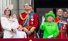 JUNE 11, 2016, Charlotte's big brother Prince George stood at the front of the balcony next to his father Prince William, and looked delighted to be part of the action, waving to the crowds and gazing up in awe at the RAF flypast that made its way down the Mall and over the palace, leaving trails of red, white and blue smoke.