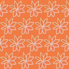 Spring Floral Pink Flowers on Orange fabric by smuk on Spoonflower - custom fabric