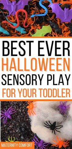We are sharing 10 fun Halloween Sensory Activities For Toddlers, Start a new toddler Halloween tradition with your family! We included toddler Halloween art ideas, Halloween books for toddlers, Halloween slime recipes, Halloween sensory bins, Halloween colored rice recipe, fall toddler activities, fall playdough recipes, Halloween toddler lunch ideas, Make spaghetti worms for Halloween sensory play with your toddler! #halloween #toddlerhalloween #toddleractivities Sensory Activities Toddlers, Sensory Bins, Sensory Play, Toddler Halloween, Easy Halloween, Colored Rice, Halloween Traditions, Toddler Lunches, Halloween Books