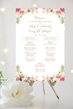 Wedding Program Sign - Bridal Party Poster - Romantic Blooms - Vintage Gold Script - Personalized - I Create and You Print