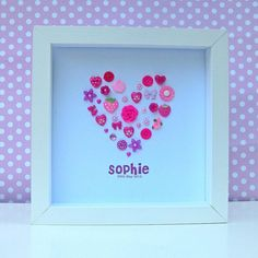 Sweet Dimple - Bespoke, personalised, framed gifts perfect for celebrating any occasion. Pink Crafts, Baby Crafts, Crafts To Do, Crafts For Kids, Paper Crafts, Button Art, Button Crafts, Button Bowl, Box Frame Art